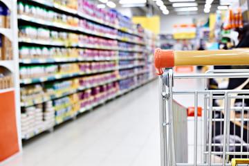 Shopping cart in shop