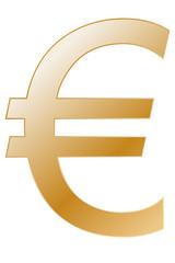Símbolo dorado del euro.