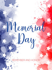 Usa Memorial day watercolored background