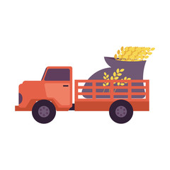 Flat farmer truck pickup delivering harvest food - huge bag with crops in body. Farming transportation and organic food. Vector isolated illustration