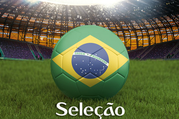 The National Team on Brazil language on football team ball on big stadium background. Brazil Team competition concept. Brazil flag on ball team tournament. Sport competition on green grass background