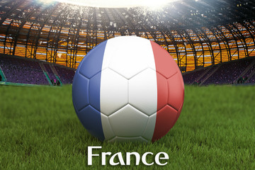 France football team ball on big stadium background. France Team competition concept. France flag on ball team tournament in Russia. Sport competition on green grass background. 3d rendering
