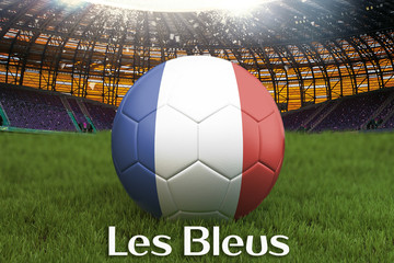 The Blues on French language on football team ball on big stadium background. France Team competition concept. France flag on ball team tournament. Sport competition on green grass background