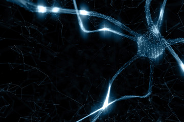 Artistic dark blue colored neuron cell in the brain on black illustration background.