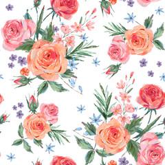 Vintage seamless pattern wuth pink roses