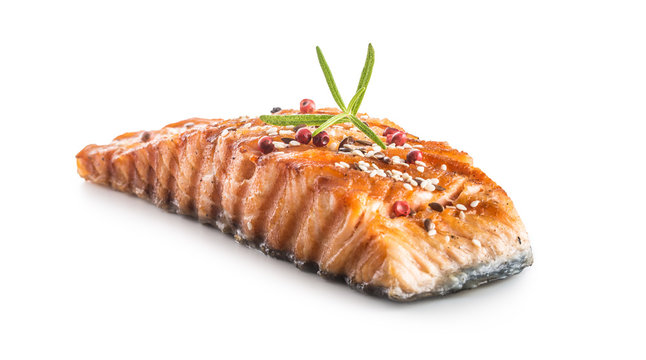 Grilled salmon fillet with sesame herb and pepper.