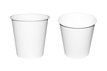 Disposable paper Cup isolated on white background.