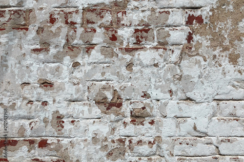 Old Red Brick Wall In A White Foreded Stucco Wallpaper Background