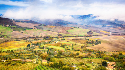 Tuscany landscape with wave hills, cypresses trees in Tuscany, Italy, Europe