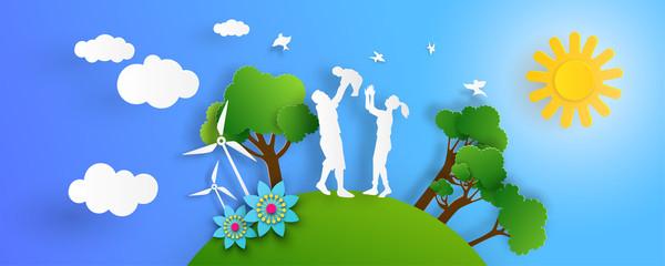Nature landscape banner and eco friendly concept.