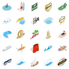 Surfing icons set. Isometric set of 25 surfing vector icons for web isolated on white background