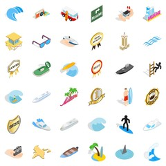 Boat icons set. Isometric style of 36 boat vector icons for web isolated on white background