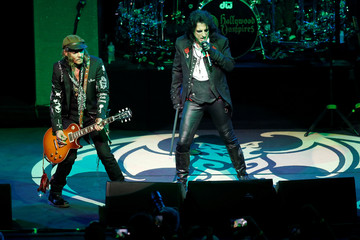 Johnny Depp and Alice Cooper perform together as 'Hollywood Vampires' during the 52nd Montreux Jazz Festival in Montreux