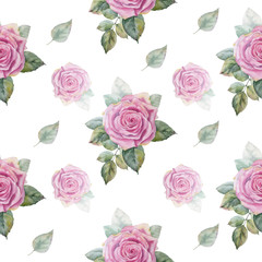 Watercolor hand painted seamless pattern of pink roses.