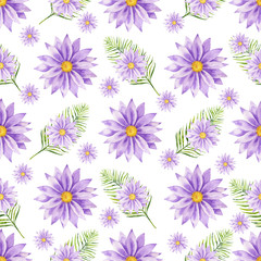 Watercolor hand painted seamless pattern of violet flowers.