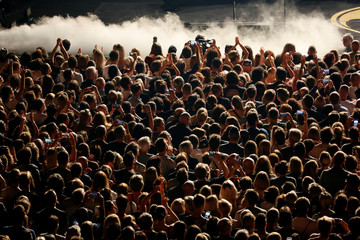 The crowd waits for 'Hollywood Vampires' show during the 52nd Montreux Jazz Festival in Montreux