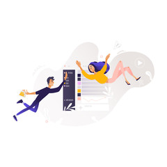 Young cheerful man, woman in casual clothing flying in blue cloud with chat clouds and space text. Accessibility of information concept. Happy people reading and chatting, surfing the net Vector