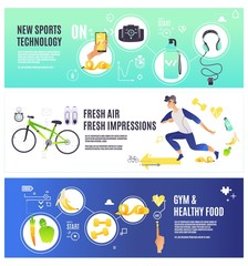 Sport and healthy lifestyle horizontal banners set with running man and various sports equipment and technologies for fitness and doing workout - cartoon vector illustration.