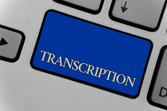 Conceptual hand writing showing Transcription. Business photo text Written or printed process of transcribing words text voice Keyboard grey key silver laptop create computer keypad notebook.