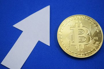 Bitcoin coin grows in price on a blue background