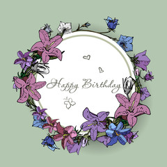 Vector happy birthday card with flowers