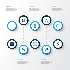 Picture icons colored set with center focus, shutter, high dynamic range and other lightning  elements. Isolated vector illustration picture icons.