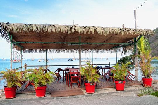 Paillote célèbre restaurant à Deshaies en Guadeloupe
