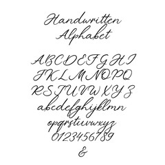 Vector Calligraphy Alphabet. Exclusive Letters. Decorative handwritten brush font for: Wedding Monogram, Logo, Invitation. Handwritten brush style modern cursive font isolated on white background