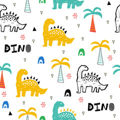 Hand drawn seamless pattern with dinosaur in the wild safari firest. Cute illustration for nursery,textile, kids fashion.
