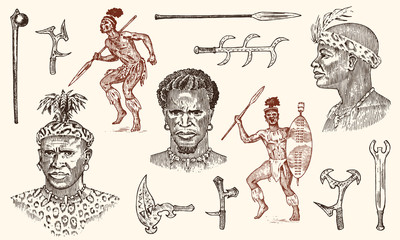 African tribes, portraits of Aborigines in traditional costumes. Australian Warlike black native man with spears and weapons. Engraved hand drawn old monochrome Vintage sketch for label.