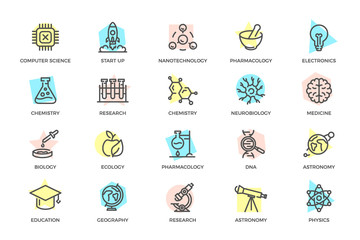 Set of vector science and research colored line icons with titles. Chip, rocket, atom, ion, lamp, tube, bulb, neuron, brain, dna, molecule, lab, space, microscope, telescope and more.