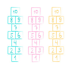 illustration with hopscotch game. Children street game