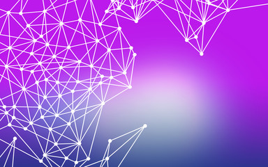 Efektowna grafika tła z fioletowo niebieskim rozmytym tłem i białymi geometrycznymi figurami tworzonymi przez białe punkty i linie
