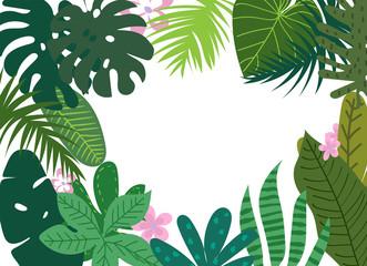 Fototapeta tropical leaves background. vector botanical illustration.