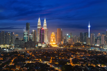 Kuala lumpur cityscape. Panoramic view of Kuala Lumpur city skyline during sunrise viewing skyscrapers building n Malaysia.