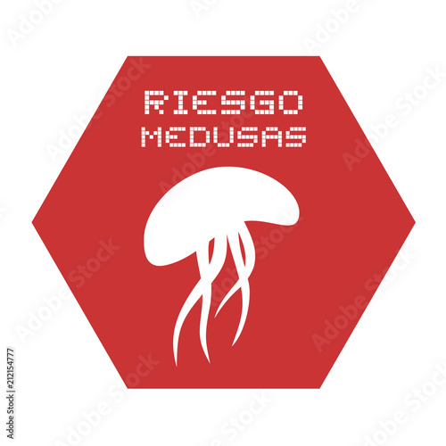Jellyfish Risk Symbol In Spanish Stock Image And Royalty Free