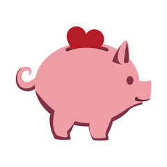 Heart into piggy vector illustration graphic design
