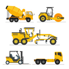set of construction heavy machines. vehicles construction equipment for building. Road Grader, Concrete cement mixer truck, long trailer, road roller, fork lift. isolated illustration vector.