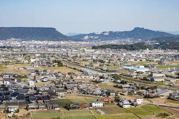 Landscape of a suburb in takamatsu city,Kagawa,Shikoku,Japan
