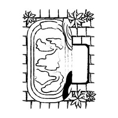 bathtub with houseplants scene vector illustration design