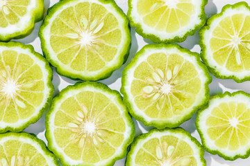Sliced bergamot on white