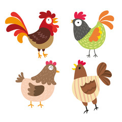 chicken character vector design