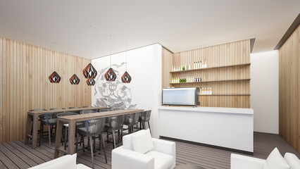 Coffee lounge at hostel with asian style , 3d Rendering