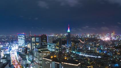 東京夜景・東京3大タワーを同時に望む・スカイツリー・ドコモタワー・東京タワー