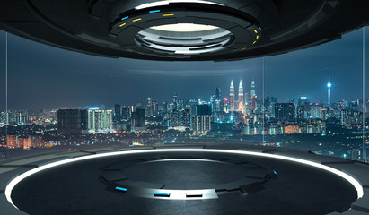 Futuristic interior design empty space room with large windows and city urban landscape .3D rendering and real images mixed media .