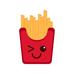Isolated happy french fries emote