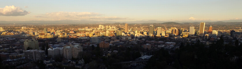 Long Panoramic Aerial View of the Greater Metro Portland Oregon Area