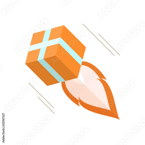 Colored Flat Icon Isometry Vector Design 3d Cartoon Cardboard Box