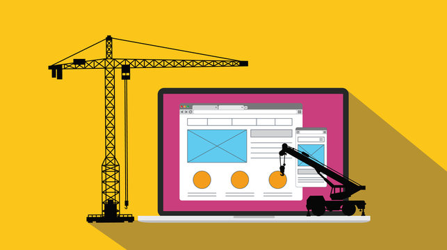 ux user experience design website apps development and build with crane and laptop