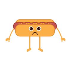 Isolated sad hot dog emote